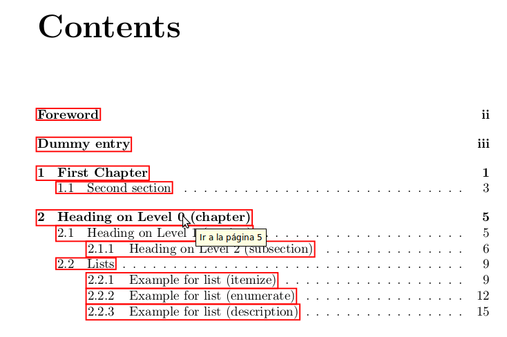 latex template table of contents 1
