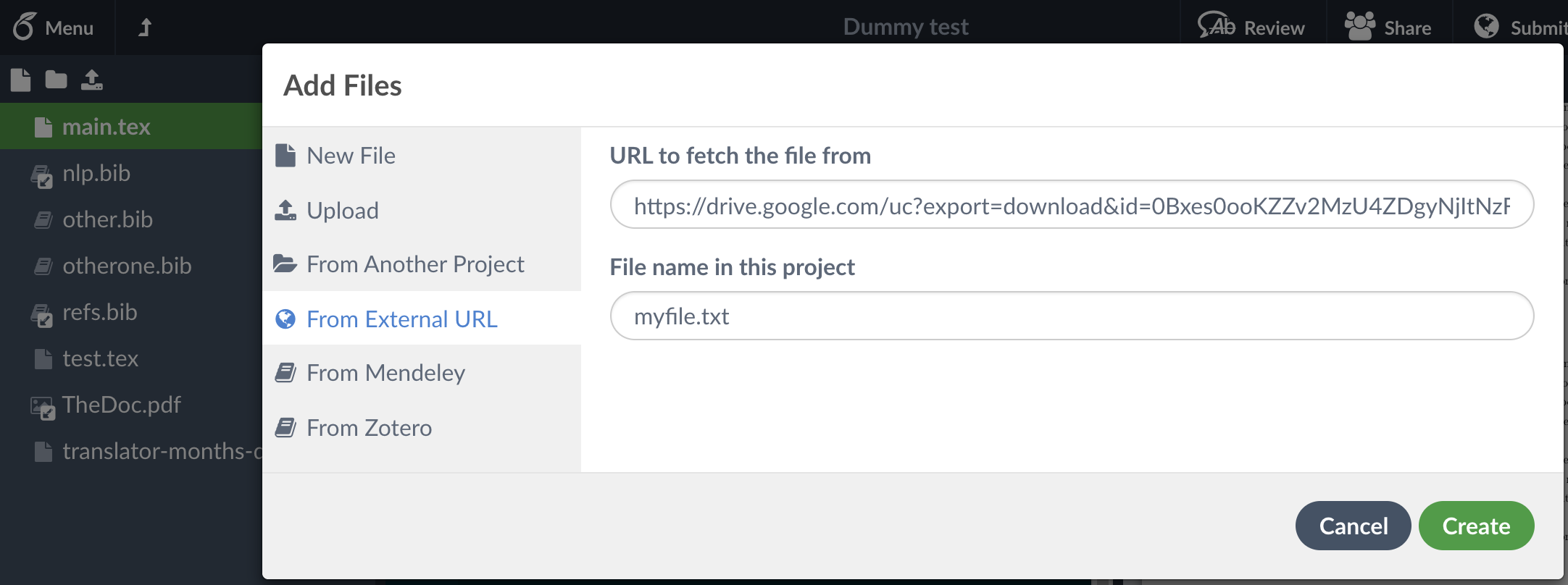 Adding file from Google Drive as a linked file