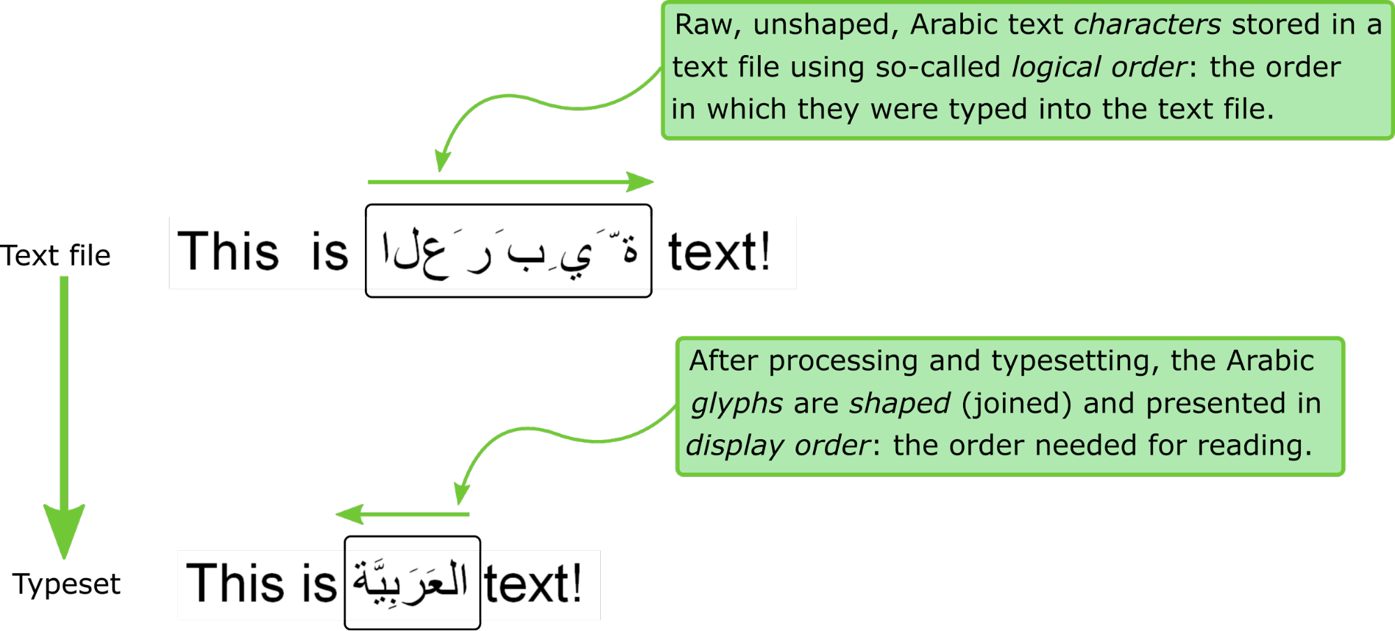 Image showing the transformation undergone by Arabic text when it is typeset