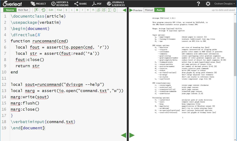 Screenshot of an Overleaf project